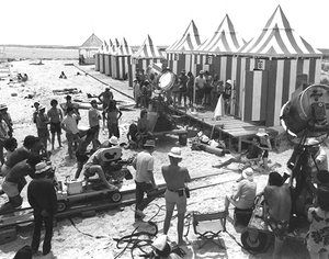 Roy Scheider Jaws film crew 1975 - Crew filming the famous dolly zoom scene with Roy Scheider (sitting on the right of picture). Photograph: LFI