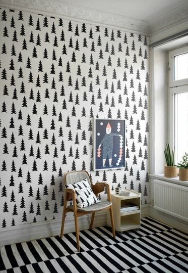 Mix of black/white patterns and awesome wallpaper