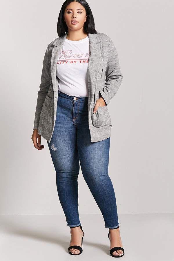 Forever 21 Plus Size Glen Plaid Blazer Plaid Blazer Outfit Plus Size Blazer Plus Size Outfits