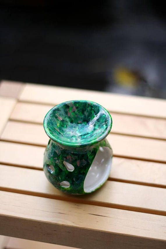 Hand painted ceramic Wax warmer / oil burner  Small  Nature