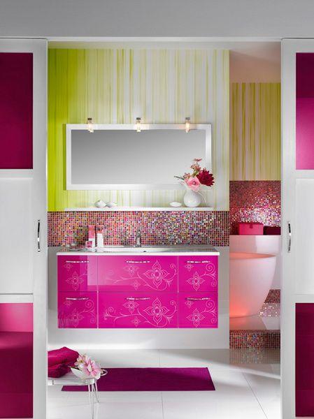 Amazing Feminine Glamour Girls Bathroom Design Purple White Interior Minimalist Style.