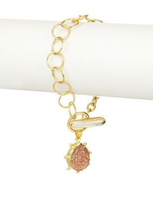 Coralia Leets Bronze Druzy Teardrop Charm Bracelet