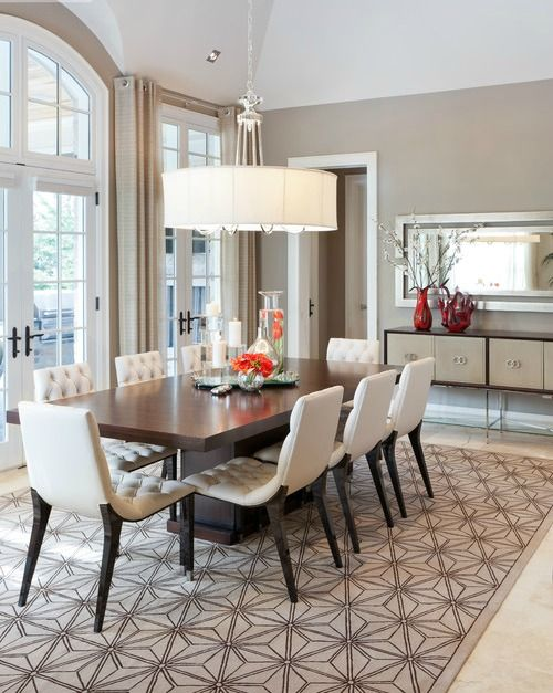 Dining room table and chairs, large shaded chandelier