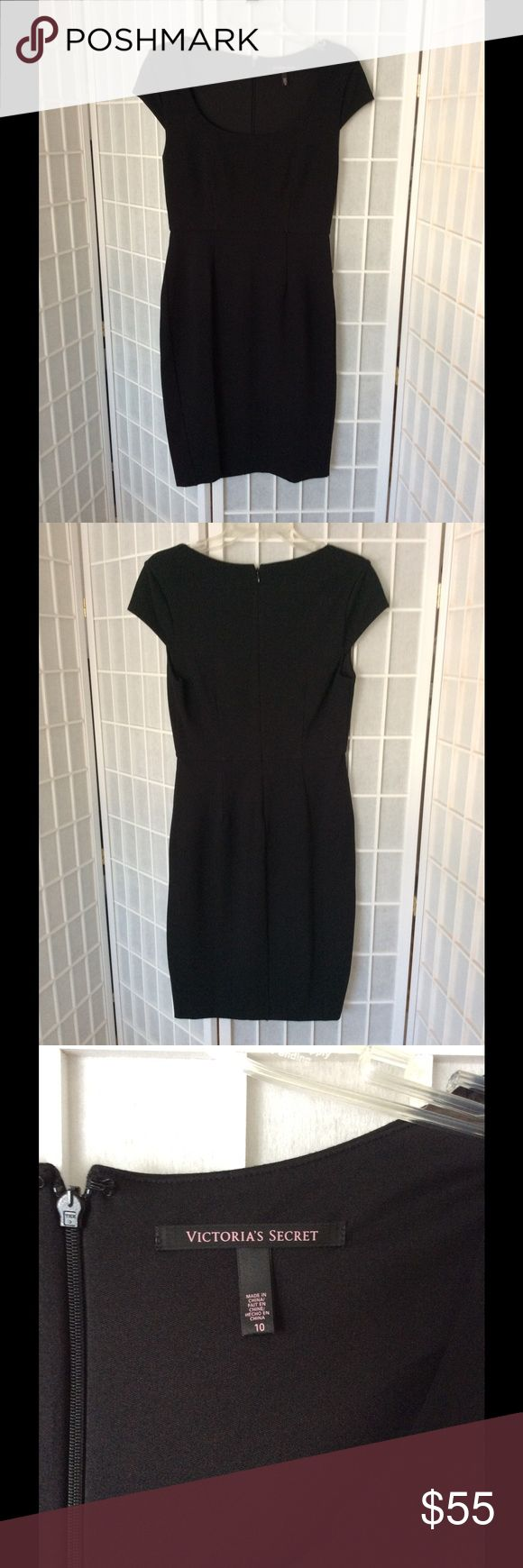 Victoria's Secret Black dress Smart, classy and sophisticated VS black back zip dress with cap sleeves. Scoop neck. Looks beautiful on the body. Machine wash cold. Never worn. Chest: 15, waist: 13 1/2, cb length: 37. I also have a striped version listed. PINK Victoria's Secret Dresses