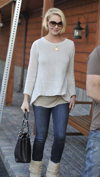 Katherine Heigl in boat neck sweater