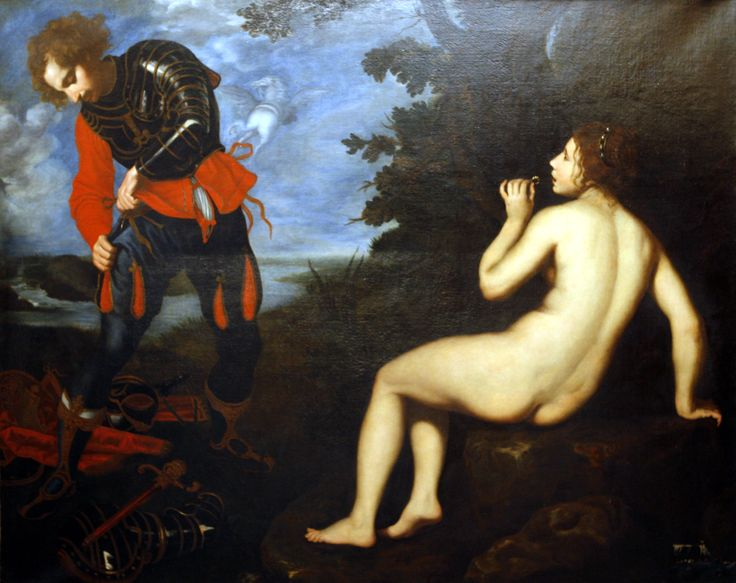 Giovanni Bilivert - Angelica and Ruggero, c. 1623-1624    'This shows a famous episode from the poem Orlando Furioso by Ariosto, when Angelica puts the magic ring in her mouth and disappears from Ruggero's sight. He had been about to rape her, after freeing her from the sea monster. It was painted for Cardinal Carlo de' Medici's residence, the Casino of San Marco.'