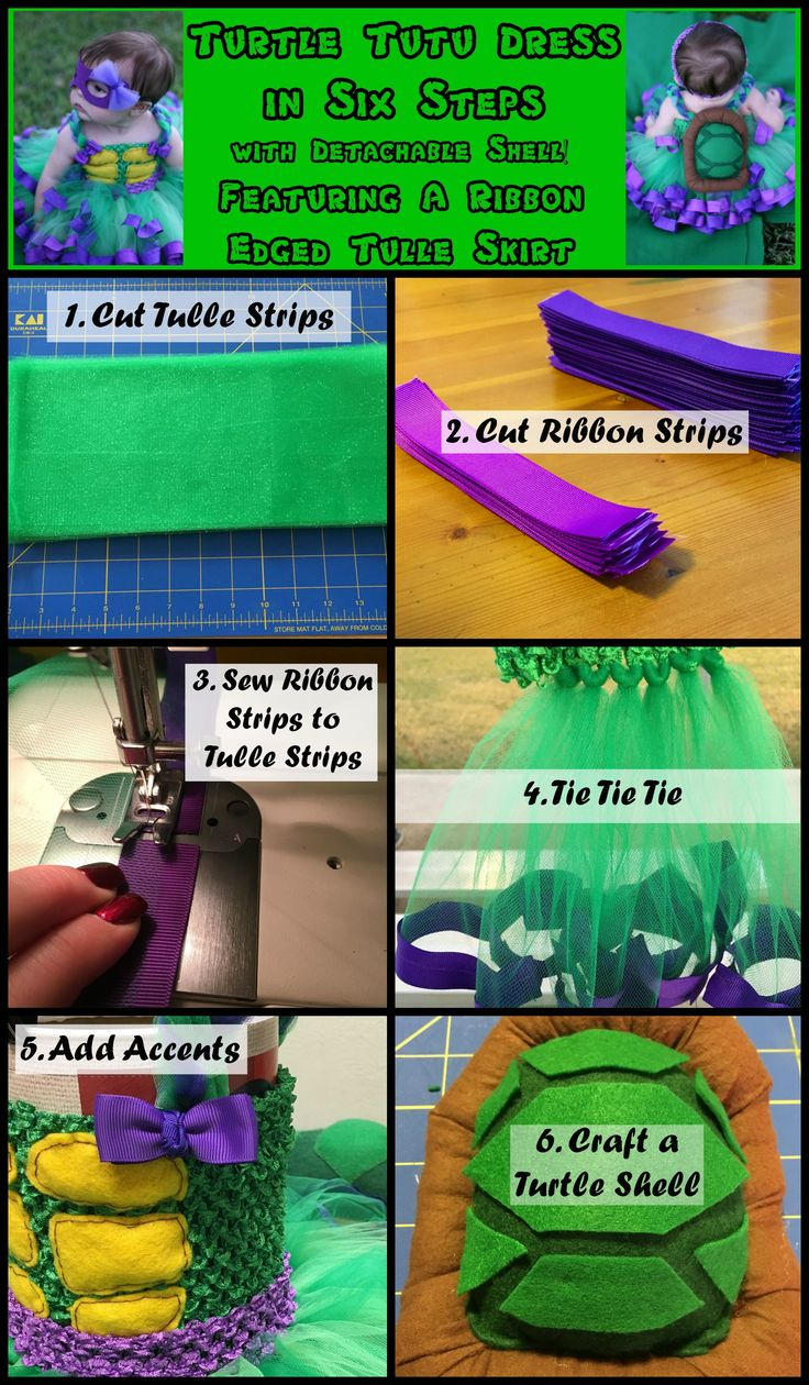With turtle detailing, this green and purple tutu dress tutorial takes you through step-by-step instructions on how to create a ribbon edged tutu, add finishing details, and craft a turtle shell for a ninja turtle inspired costume.