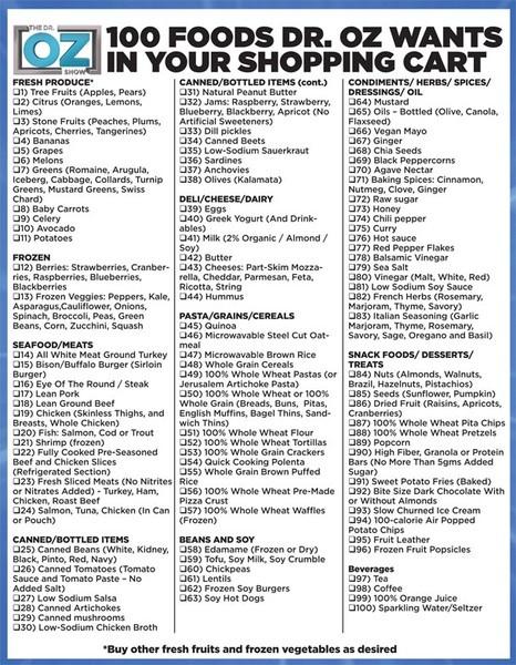 Dr. Oz: Healthiest Food, Food Lists, Health Food, 100 Food, Shops Lists, Dr. Oz, Shops Carts, Healthy Food, Grocery Lists