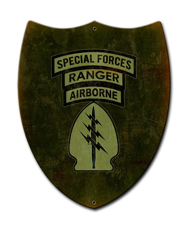 From the Altogether American licensed collection, this Special Forces Ranger Airborne Shield custom metal shape measures 10 inches by 12 inches and weighs in at 1 lb(s). This custom metal shape is han