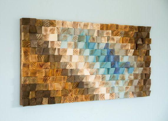Modern Wood wall Art wood mosaic geometric art wood decor