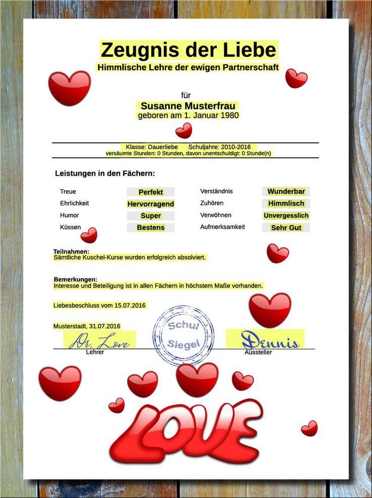 Zeugnis Der Liebe * Jetzt Können Sie Ihrem Geliebten Partner Bzw. Ihrer  Geliebten Partnerin Endlich Mal Alles Schriftlich Geben, Uns Zwar In Form  Von Einem ...