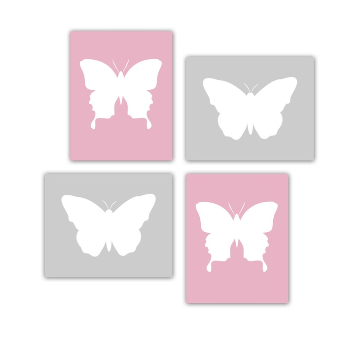 Butterfly Art Prints Four 8x10 Prints for Butterfly Nursery Wall Decor Customize Your Colors Pink and Gray Art Print. $50.00, via Etsy.