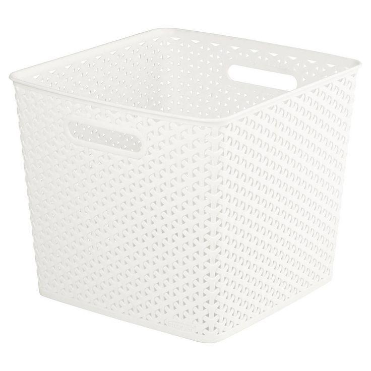 Square My Style Vintage White Storage Basket fits kallax ish