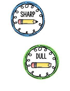 Sharp and Dull Pencil Labels by Miss Mason's Kindergarten Corner | Teachers Pay Teachers