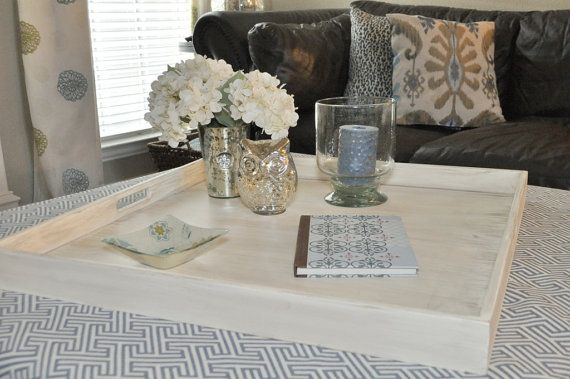 """32"""", 34"""" or 36"""" Square Extra Large Ottoman Tray - Distressed Cream"""