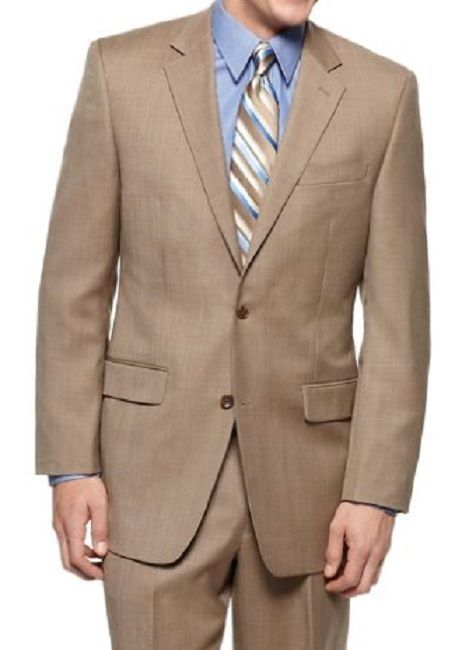 Michael Kors Mens Pant Suit Sz 42R 35W Tan Multi 2 Piece Set Business Pant Suit  #MichaelKors #TwoButton