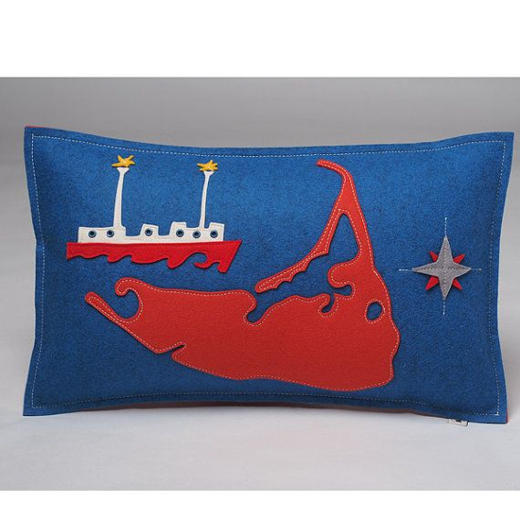 Nantucket Map Pillow with Nantucket Lightship by CheekyMonkeyHome
