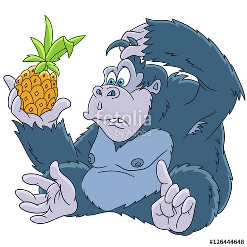 Vector: Cute and funny cartoon gorilla with pineapple, isolated on white background. Childish vector illustration and colorful book page for kids.