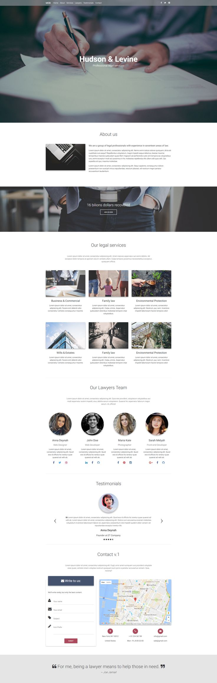 Fully responsive Legal Portfolio Landing Page created with Material Design for Bootstrap