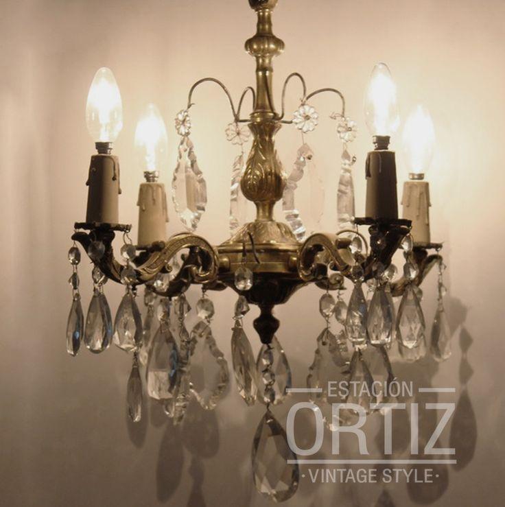 Ara a antigua de bronce con caireles 4 luces - Lamparas de arana antiguas ...