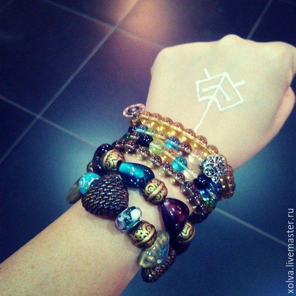 """Купить Набор браслетов """"Эклектика"""" - разноцветный, браслеты, набор браслетов, стекло ручной работы"""