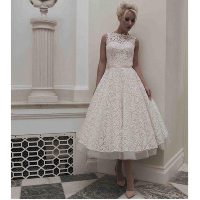 2015 New Arrival  A Line Boat Neck Vintage Organza Short Bridal Gowns Tea Length Lace Wedding Dresses Vestidos De Novia