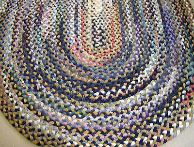 Vintage 8 5 X5 9 Oval Hand Braided Wool Rag Rug Room Size Bright Colors 2