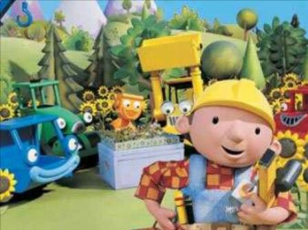 "Childhood PBS Kids clay-mation cartoon, ""Bob the Builder""."