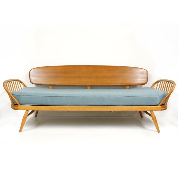 1950s Blue Ercol Studio Couch Mid Century Modern