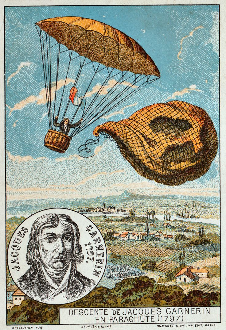 Parachute style balloon with rope and basket