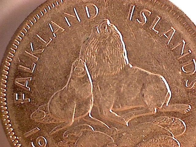 10 pence coin from the Falkland Islands: depicts two Patagonian sea lions.