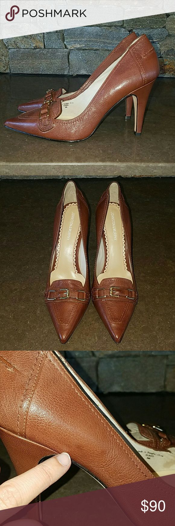 NWOB Johnston & Murphy heels pumps 8.5 brown Very nice Johnston & Murphy brown career heels size 8.5.  New without the box.  Textured leather with gold buckle detail.  Small dark mark on side and on back along with small indent on heel.  Seems like a simple imperfection. Johnston & Murphy Shoes Heels