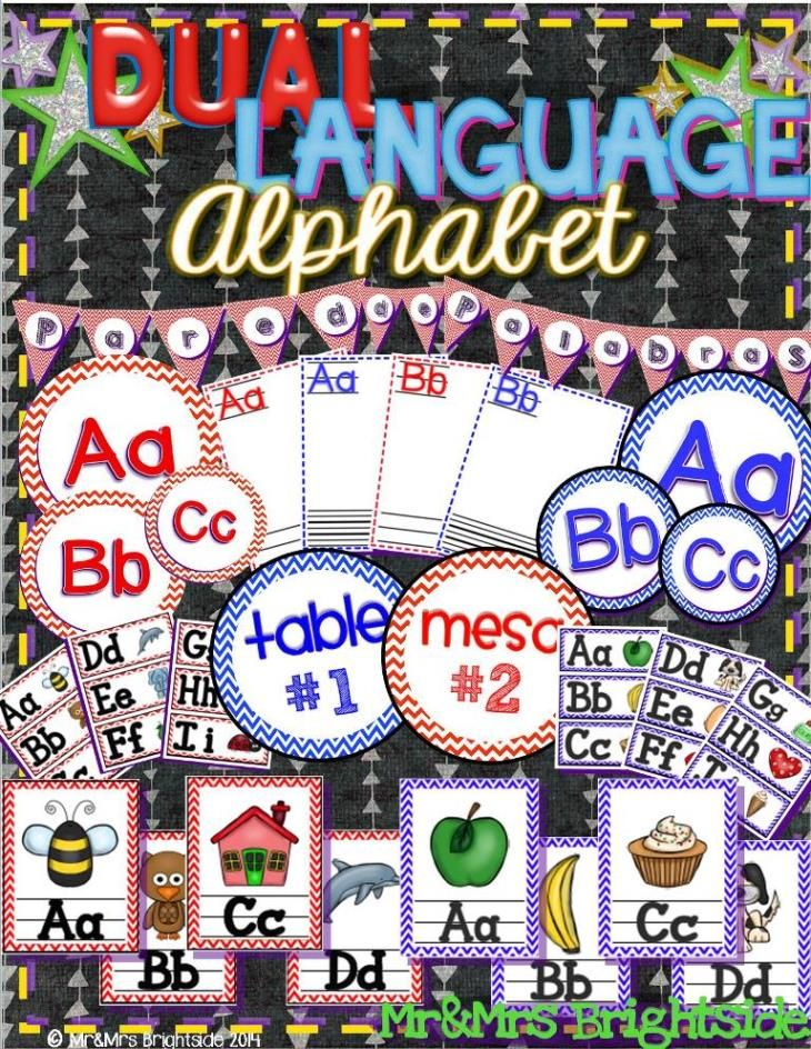 Dual Language Alphabet pack has everything you need to set up your dual language word walls and student generated alphabets. The dual language word wall letters and alphabets contain pictures (with/without) are color-coded in blue (English) and red (Spanish). I also include a pennant heading to highlight your English word wall and your Spanish word walls.