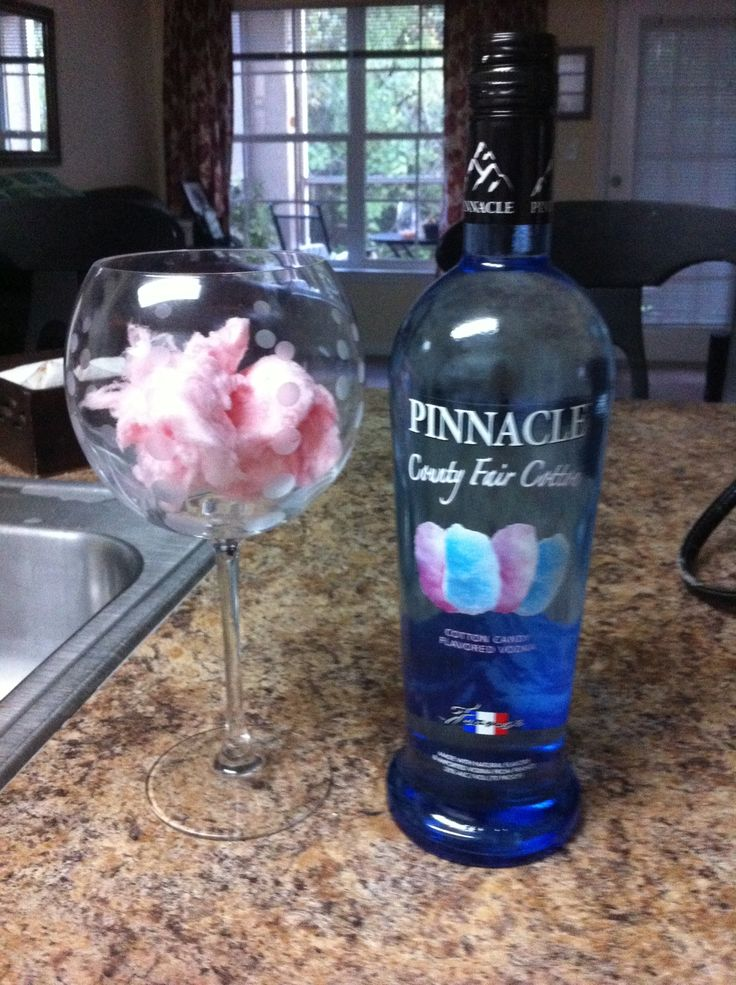 Cotton candy cocktail!  Cotton candy, pinnacle vodka cotton candy flavored and ginger ale!