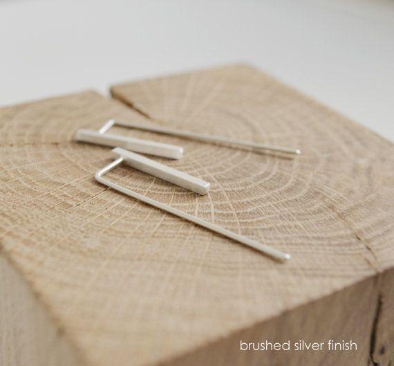 Silver bar earrings minimalistic earrings industrial by AgJc