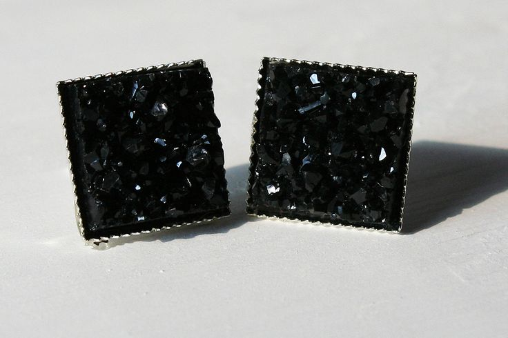 Black Faux Druzy Square Earrings | Cali Boutique | FREE U.S. Shipping!