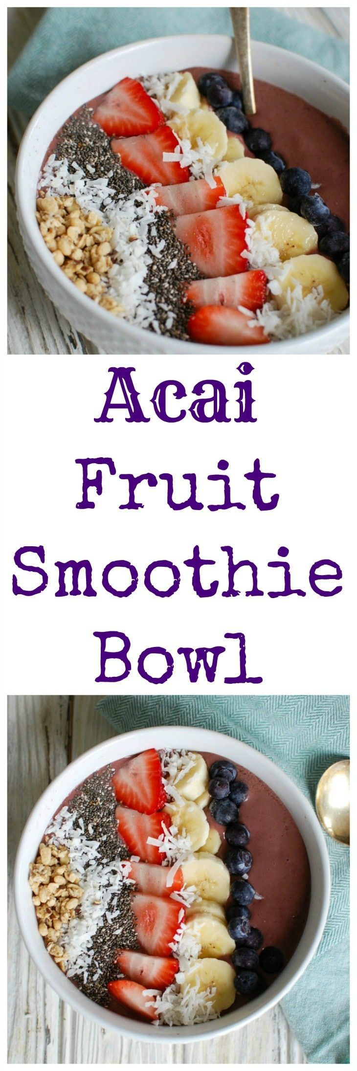 tart your day with a beautiful and delicious Acai Fruit Smoothie Bowl.  Acai is blended with milk or your favorite dairy alternative, frozen fruit, chia seeds and topped with your favorite smoothie down toppings including chia seeds, fresh fruit, shredded coconut and granola. // A Cedar Spoon