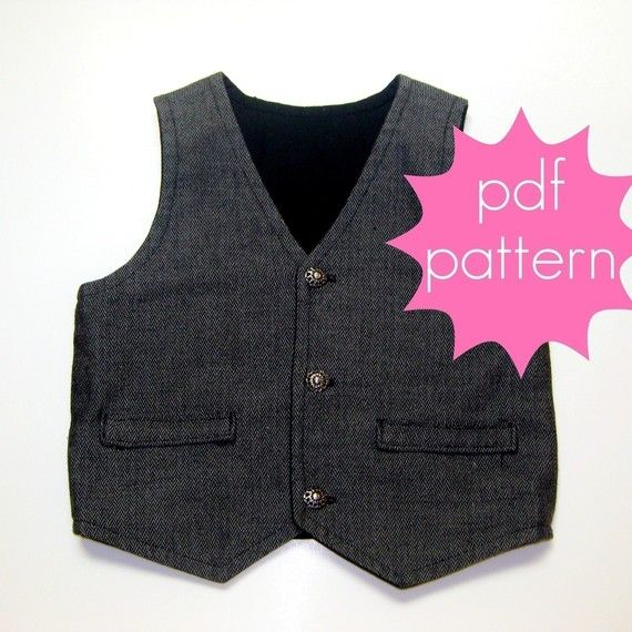 Reversible Vest PDF Sewing Pattern  nb  5t or 6  14 by jocole, $8.00