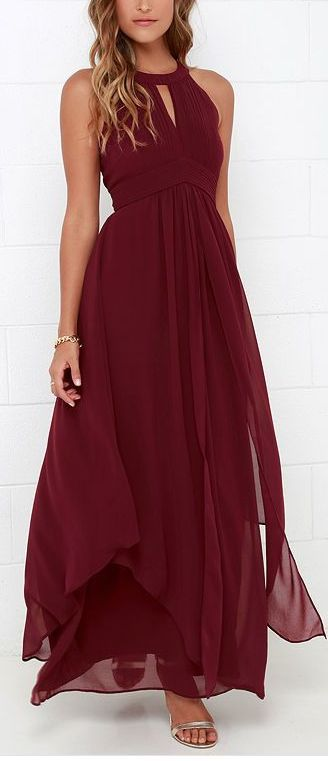 Maroon. Long dress. Flow. Waist. Neck line. Bare shoulders.