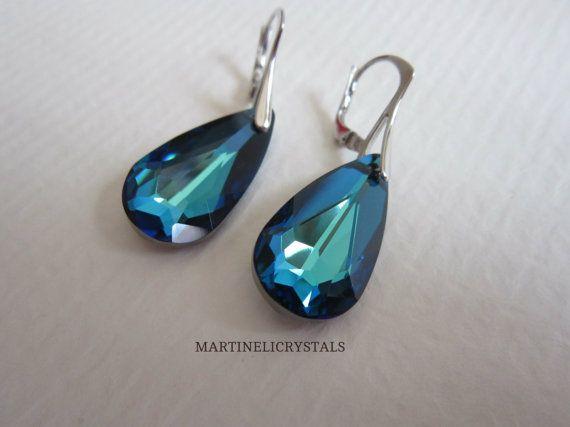 BB Blue Swarovski Earrings Blue Dangle by MARTINELICRYSTALS