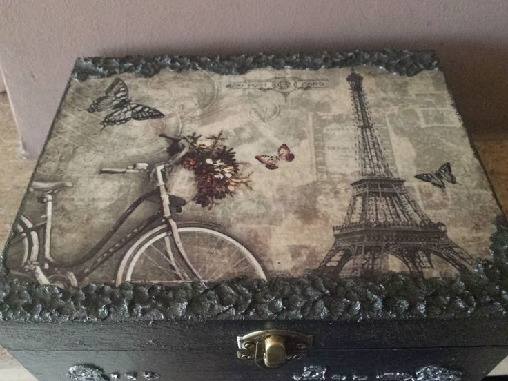 Paris.. wooden box with decoupage