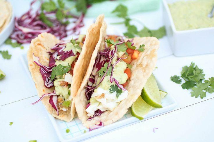 Halibut Fish Tacos (made with Otto's Naturals Cassava Flour) with Avocado Aioli | Anya Eats
