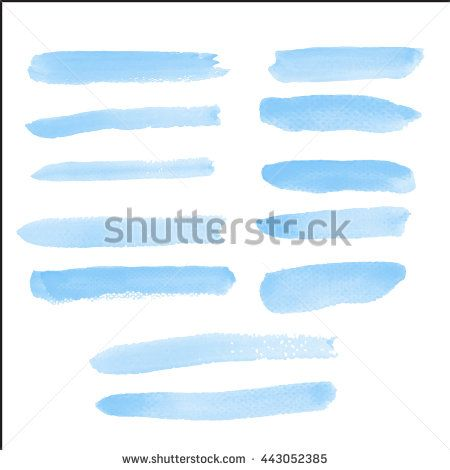 Water color brush on paper rough use for custom brush in Photo editor or use in commercial use 12 shape blue color collection vector illustrations - stock vector