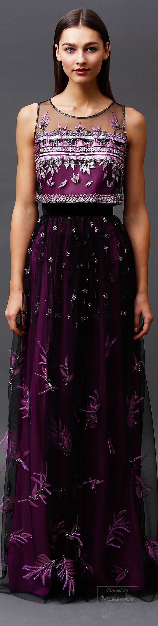 Badgley Mischka.Pre-Fall 2015. Sheer and beaded midriff top with long purple skirt