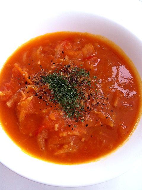 大玉トマト、プチトマト、玉ねぎ、ベーコン、大根、人参、パプリカ入り - 12件のもぐもぐ - 生トマトスープカレー風味 by amyamy