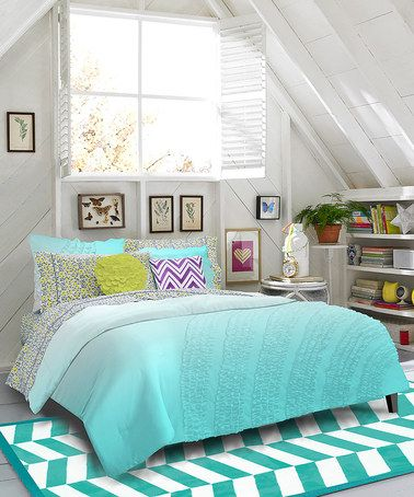 Take a look at this Teal Floral Ella Comforter Set by Teen Vogue on #zulily today!