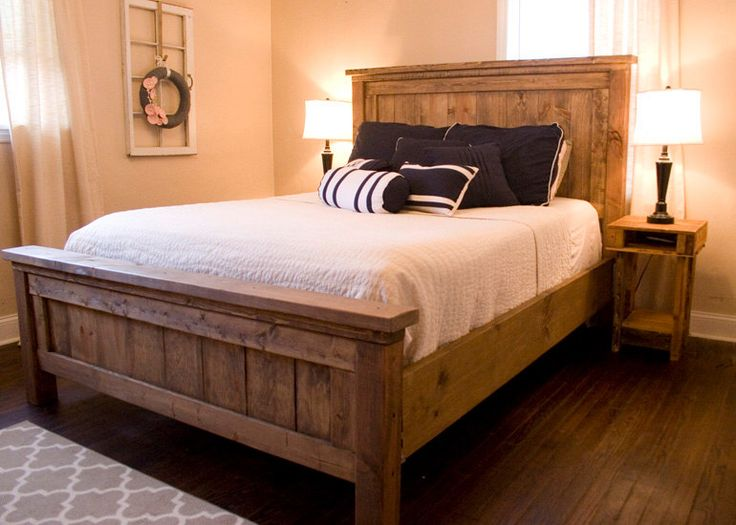 Farmhouse Bed - Rustic Furniture - Wooden Bed by WoodSmithDesignCo on Etsy https://www.etsy.com/listing/258758644/farmhouse-bed-rustic-furniture-wooden