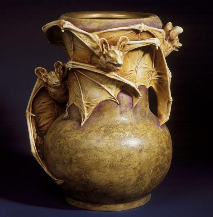 The Bat Vase by Amphora  Bohemia, c 1905  Only five of this vase are known to exist. They are one of the most sought after vases for amphora collectors.