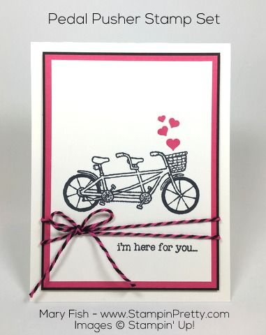Sale-A-Bration Pedal Pusher stamp set is super sweet for this get well card designed by Mary Fish, Independent Stampin' Up! Demonstrator.  Details, supply list and more card ideas on http://stampinpretty.com/2016/02/preview-of-sale-a-bration-pedal-pusher.html