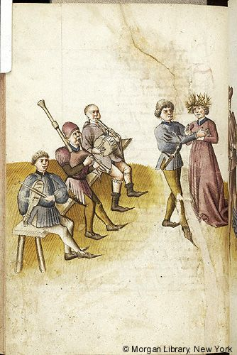 "MusicArt ""Scene, about Dancing"". Der Renner. Three muscians, playing VIOL, BAGPIPE, and PIPE and TABOR, sit on bench. Before them is couple, with man wearing dagger sheathed at waist extending his hands to breast of woman, wearing headdress. Literary, MS M.763 fol. 145v - Images from Medieval and Renaissance Manuscripts - The Morgan Library & Museum"